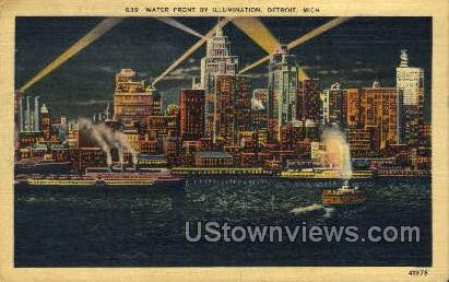Water Front - Detroit, Michigan MI Postcard