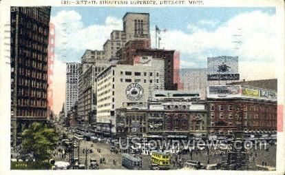 Retail Shopping District - Detroit, Michigan MI Postcard