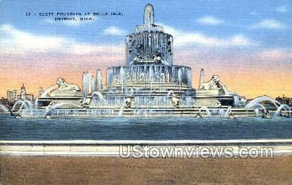 Scott Fountain, Belle Isle - Detroit, Michigan MI Postcard