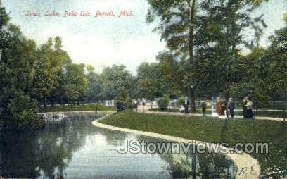 Swan Lake, Belle Isle - Detroit, Michigan MI Postcard