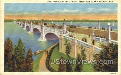 Belle Isle Bridge - Detroit, Michigan MI Postcard
