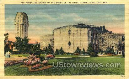 Church of the Shrine of Little Flower - Royal Oak, Michigan MI Postcard