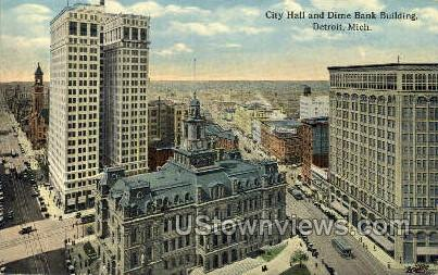 City Hall & Dime Bank Bldg - Detroit, Michigan MI Postcard