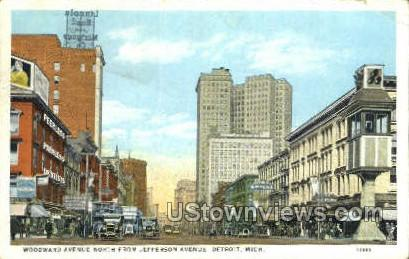 Woodward Ave. - Detroit, Michigan MI Postcard