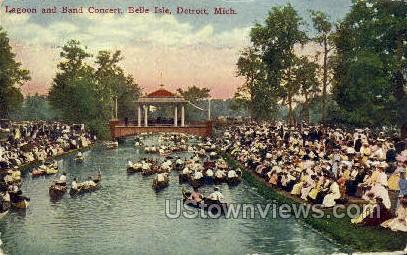 Lagoon & Ban Concert, Belle Isle - Detroit, Michigan MI Postcard