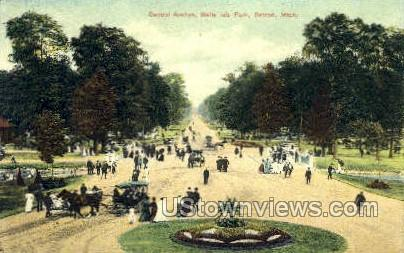 Central Ave., Belle Isle - Detroit, Michigan MI Postcard