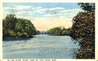 St. Joe River, Island Park - Niles, Michigan MI Postcard