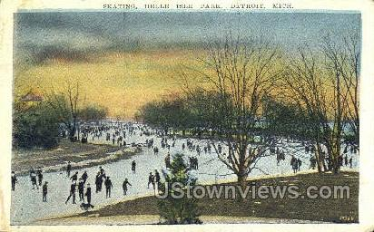 Skating, Belle Isle Park - Detroit, Michigan MI Postcard