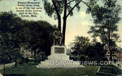 Pingree Monument - Detroit, Michigan MI Postcard