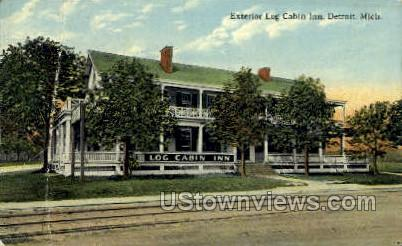 Exterior Lob Cabin Inn - Detroit, Michigan MI Postcard