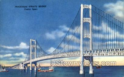 Mackinac Straits Bridge - Mackinac Island, Michigan MI Postcard