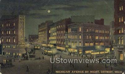 Michigan Ave. - Detroit Postcard