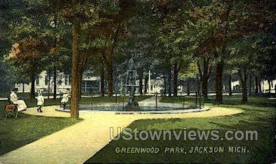 Greenwood Park - Jackson, Michigan MI Postcard
