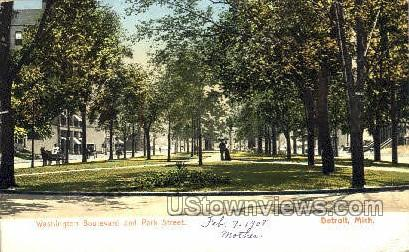 Washington Blvd - Detroit, Michigan MI Postcard