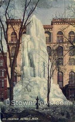 Ice Fountain - Detroit, Michigan MI Postcard
