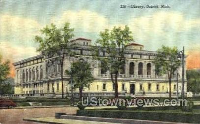 Library - Detroit, Michigan MI Postcard