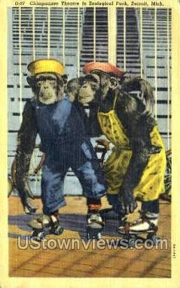 Chimpanzee Theatre - Detroit, Michigan MI Postcard
