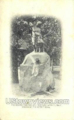 Newsboys' Fountain - Detroit, Michigan MI Postcard