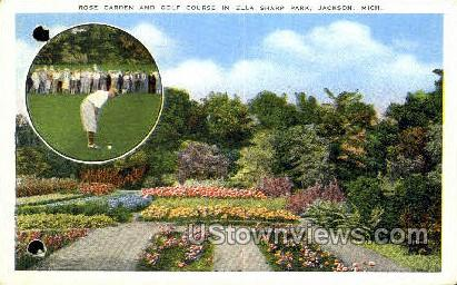 Rose Garden, Ella Sharp Park - Jackson, Michigan MI Postcard