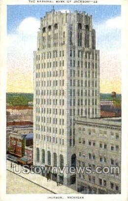 National Bank of Jackson - Michigan MI Postcard
