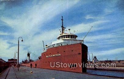 Giant Ore Boat - Sault Ste Marie, Michigan MI Postcard