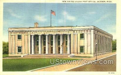 US Post Office - Jackson, Michigan MI Postcard