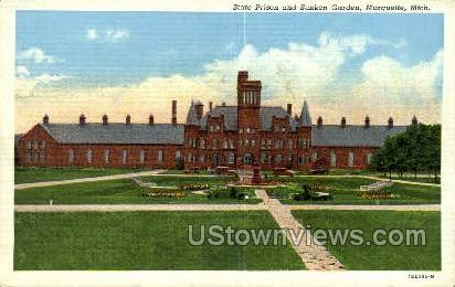 State Prison & Sunken Garden - Marquette, Michigan MI Postcard