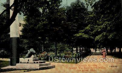 Spanish War Cannon & Walks - Ann Arbor, Michigan MI Postcard