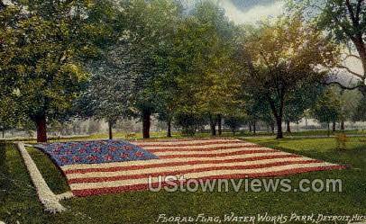 Floral Flag, Water Works Park - Detroit, Michigan MI Postcard