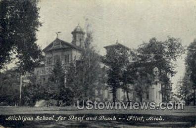 Michigan School for Deaf & Dumb - Flint Postcard