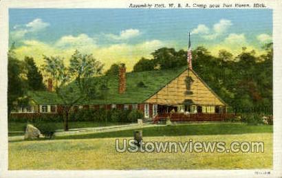 Assembly Hall, W.B.A. Camp - Port Huron, Michigan MI Postcard