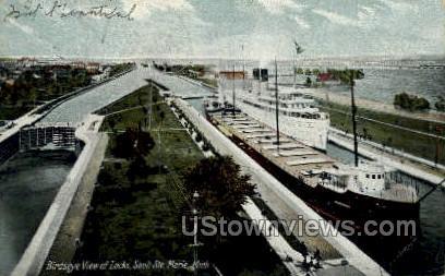 Locks - Sault Ste Marie, Michigan MI Postcard