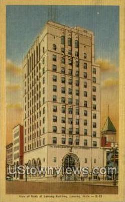 Bank of Lansing Bldg - Michigan MI Postcard