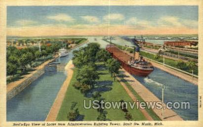 Admin Tower - Sault Ste Marie, Michigan MI Postcard