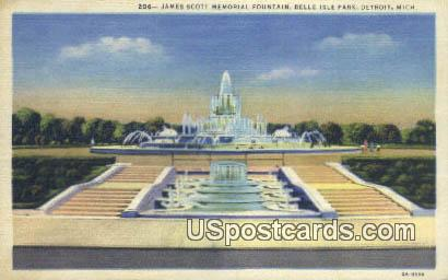 James Scott Fountain, Belle Isle Park - Detroit, Michigan MI Postcard