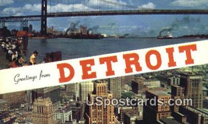 Detroit River - Michigan MI Postcard