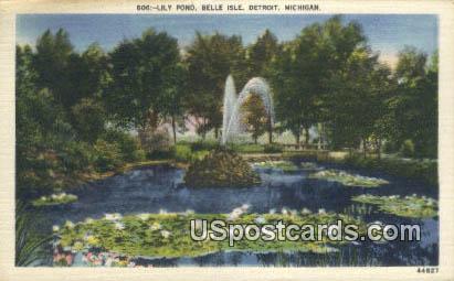 Lily Pond, Belle Ise - Detroit, Michigan MI Postcard