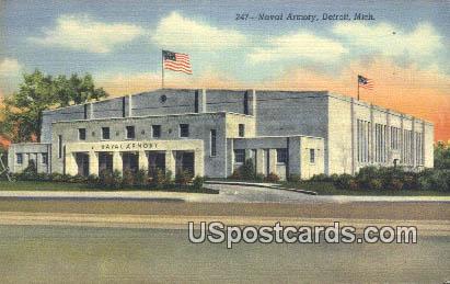 Naval Armory - Detroit, Michigan MI Postcard