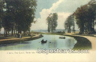 Canal, Belle Isle Park - Detroit, Michigan MI Postcard