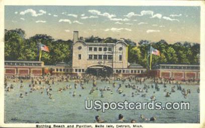 Bathing Beach & Pavilion, Belle Isle - Detroit, Michigan MI Postcard