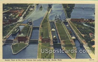 Four Famous Soo Locks - Sault Ste Marie, Michigan MI Postcard