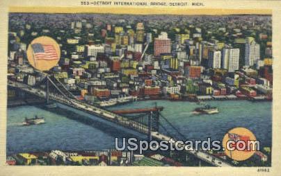 Detroit International Bridge - Michigan MI Postcard