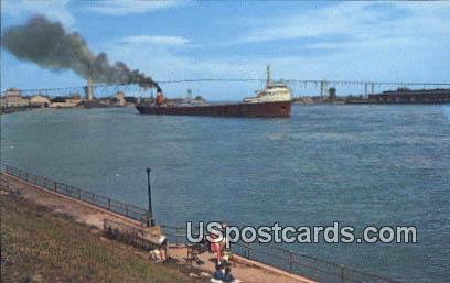Famous Blue Water Bridge - Port Huron, Michigan MI Postcard