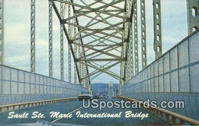 Sault Ste Marie International Bridge - Michigan MI Postcard