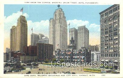 Union Trust, City Hall - Detroit, Michigan MI Postcard