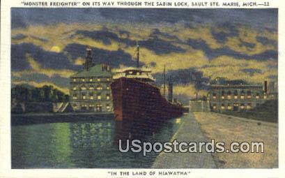 Monster Freighter - Sault Ste Marie, Michigan MI Postcard