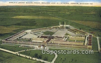 World's Largest Walled Prison - Jackson, Michigan MI Postcard