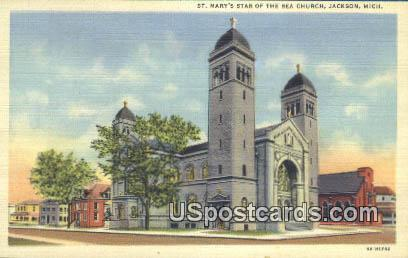 St Mary's Star of the Sea Church - Jackson, Michigan MI Postcard