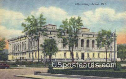 Library - Detroit, Michigan MI Postcard