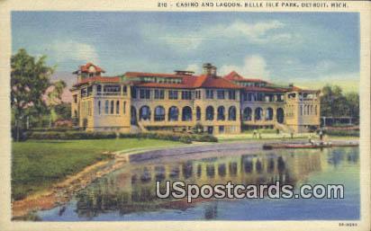 Casino & Lagoon, Belle Isle Park - Detroit, Michigan MI Postcard